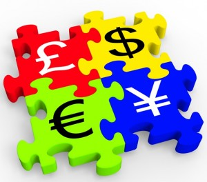 Currency Symbols Puzzle Showing Forex
